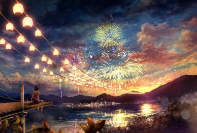 夏祭りと花火の壁紙 壁紙キングダム Pcデスクトップ用