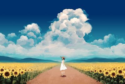 夏 入道雲 女の子 向日葵の壁紙 壁紙キングダム Pc デスクトップ用