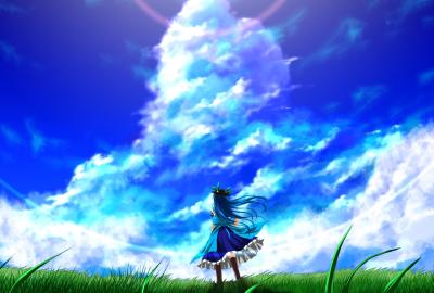 夏空と青い髪の少女の壁紙 壁紙キングダム Pc デスクトップ用