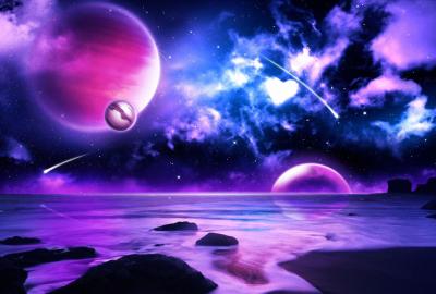 幻想的な紫の宇宙の壁紙 | 壁紙キングダム PC・デスクトップ版