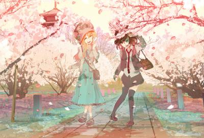 桜並木と二人の少女の壁紙 壁紙キングダム Pc デスクトップ用