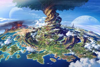 ファンタジー 海 島 火山の壁紙 壁紙キングダム Pc デスクトップ用