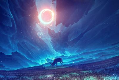 月と鹿 幻想的 青い空の壁紙 壁紙キングダム Pc デスクトップ用