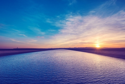 青い海 防波堤 夕日の壁紙 壁紙キングダム Pc デスクトップ用